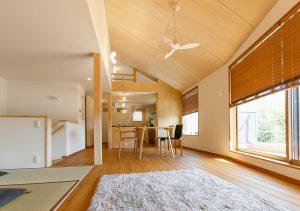 二階リビングの家:建築実例(リビング)